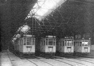 Buenos Aires Underground rolling stock - La Brugeoise cars inside the Polvorín Workshop in 1913.