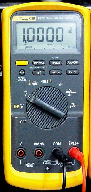 Multimeter - A 4 1/2 digit digital multimeter, the Fluke 87V