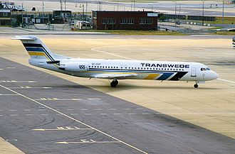 Transwede Airways - Transwede Fokker 100 at London Gatwick Airport in 1996