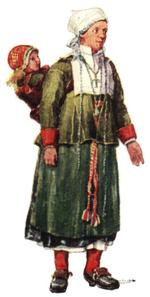 Folkdräkt, Mora socken, kvinna, Nordisk familjebok.png