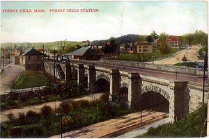 Forest Hills (MBTA station) - Forest Hills Viaduct and station shortly after construction