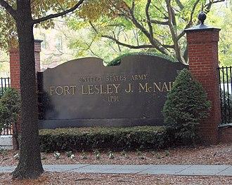 Fort Lesley J. McNair - Image: Fort Lesley J Mc Nair front sign Washington DC