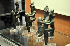 Gudea - Foundation figurines representing gods. Copper alloy. Reign of Gudea, c. 2150 BCE. From the temple of Ningirsu at Girsu, Iraq. The British Museum, London