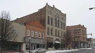 National Register of Historic Places listings in Cass County, Indiana - Image: Four buildings on Broadway in Logansport