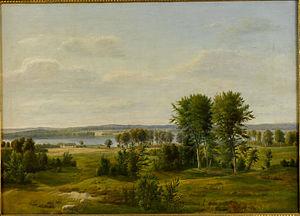 Nødebo - Dankvart Dreyer: From Lake Esrum: View towards Nødebo