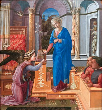 Annunciation with two Kneeling Donors (Lippi) - Image: Fra Filippo Lippi 011