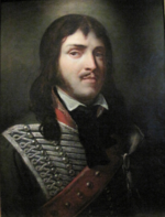 Painting of a young man in a hussar uniform. He wears a moustache and brown hair past his shoulder.