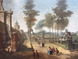 Francesco Battaglioli - Francesco Battaglioli, Gasparo Diziani, A Tree Lined Avenue with Figures