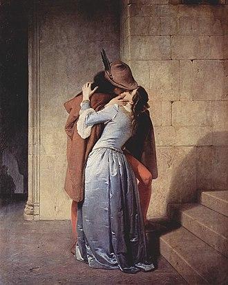 The Kiss (Klimt) - The Kiss, Francesco Hayez, 1859