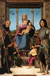 Francesco Marmitta: Madonna and Child with St. Benedict, St. Quentin and Two Angels