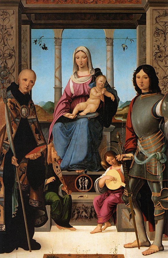Madonna and Child with St. Benedict, St. Quentin and Two Angels