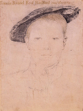 Francis Russell, 2nd Earl of Bedford - Francis Russell as a boy, by Hans Holbein the Younger, drawing in the Royal Collection