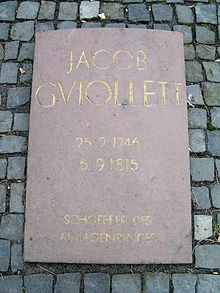 Der Grabstein Jakob Guiolletts (Quelle: Wikimedia)