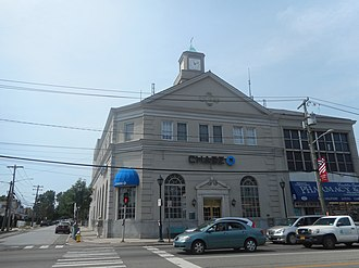 Franklin National Bank - The original headquarters for Franklin National Bank on NY 24 and James Street, now a Chase Bank branch.