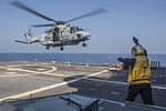 French Navy NH90 lands on USS Antietam (CG-54) in the Bay of Bengal in February 2016.JPG