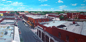 Fort Worth Stockyards - Fort Worth Stockyards and Skyline, 2007 painting by R. Vojir