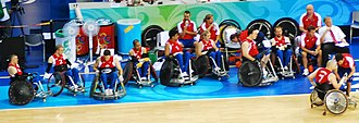 Great Britain national wheelchair rugby team - The Great Britain players at the 2008 Paralympics in Beijing.