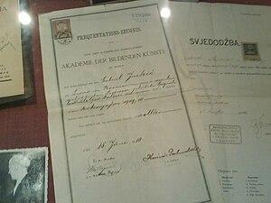 Gabrijel Jurkić - The certificate of Gabrijel Jurkić from Vienna Academy kept in Gorica  museum in Livno