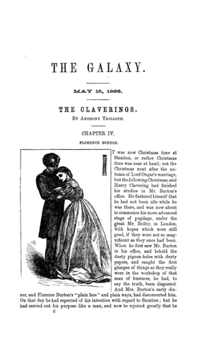 The Galaxy (magazine) - The Galaxy Vol. 1 Issue 2, May 15, 1866, featuring an excerpt of The Claverings by Anthony Trollope