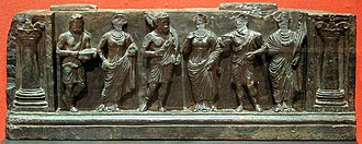Stair riser - A Gandharan Buner relief of a stair riser with devotees (1st-2nd century CE), Victoria and Albert Museum collection.