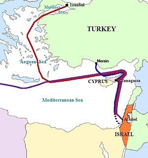 Gaza flotilla route