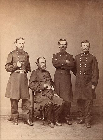 Benjamin Harrison - Brigadier General Harrison (left) with other commanders of the XX Corps, 1865