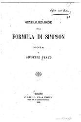 Giuseppe Peano: Generalización de la fórmula de Simpson