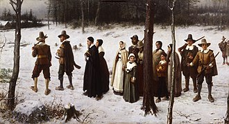 Religion in the United States - Pilgrims Going to Church by George Henry Boughton (1867)