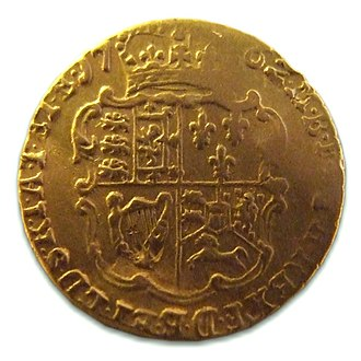 Quarter guinea - Image: George III quarter guinea dated 1762 (Find ID 658198 499153)