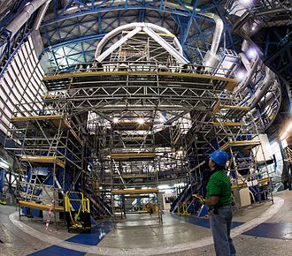 Very Large Telescope - Laser used for adaptive optics. It excites sodium atoms in atmosphere and creates a laser guide star.