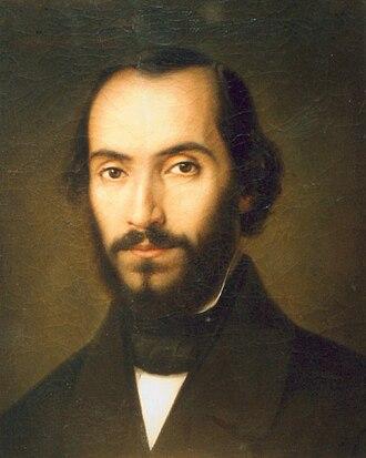 Nicolae Bălcescu - 1851 portrait of Bălcescu  by Gheorghe Tattarescu