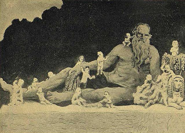 «Великан и пигмеи. Лев Толстой и современные писатели». Карикатура