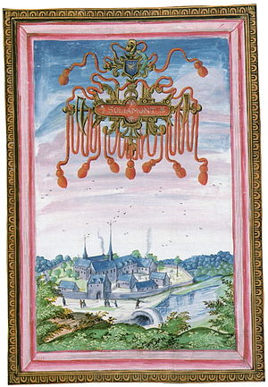 Soleilmont Abbey - Abbaye Notre-Dame de Soleilmont à Gilly (1604). Albums de Croÿ, Bibliothèque Nationale, Paris.