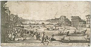 Anton Francesco Lucini - View of Pisa during the bridge game, engraving by Anton Francesco Lucini, drawing by Stefano della Bella (Rome, 1649)