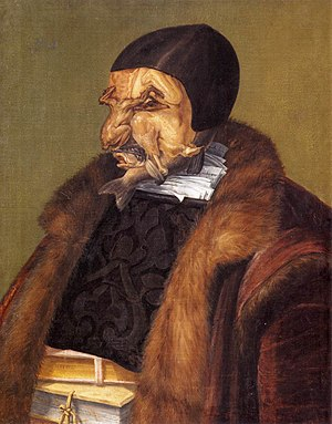 Pareidolia - The Jurist by Giuseppe Arcimboldo, 1566. What appears to be its face is a collection of fish and poultry.