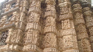 Bhoramdeo Temple - A freeze of an external face of the temple with images of gods and erotic sculptures from Kama Sutra