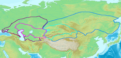 Map of the Western (purple) and Eastern (blue) Gokturk khaganates at their height, c. 600 CE. Lighter areas show direct rule; darker areas show spheres of influence.