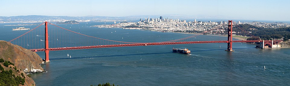 Golden Gate Bridge. Most suspension bridge cables follow a parabolic, not a catenary curve, due to the weight of the roadway being much greater than that of the cable. Golden Gate Bridge, SF.jpg