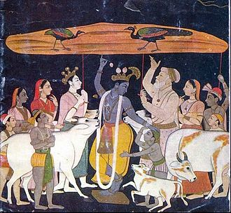 Tribhanga - Krishna upholding the Govardhan mountain in the Tribhunga stance