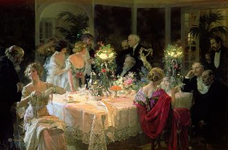 Civilization - The emergence of table manners and other forms of etiquette and self-restraint are presented as one of the characteristics of civilized society by Norbert Elias in The Civilizing Process (1939). The End of Dinner by Jules-Alexandre Grün (1913).