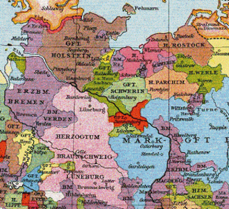 County of Dannenberg - County of Dannenberg (in red) around 1250