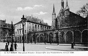 Franziskaner-Klosterkirche - Postcard of the monastery buildings and church around 1910