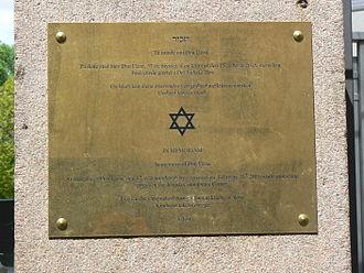 2015 Copenhagen shootings - In memory of Dan Uzan. The plaque in Great Synagogue of Copenhagen, which commemorates the terrorist attack