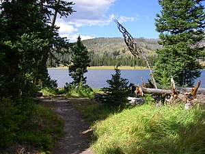 Trail approach to Grebe Lake, Yellowstone Nati...
