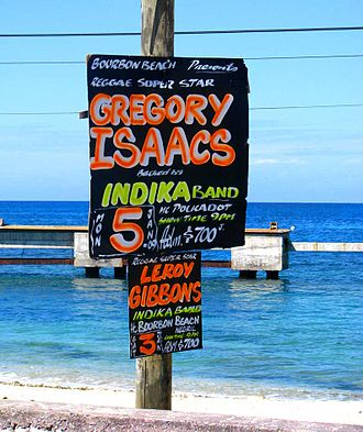 Gregory Isaacs - An advertisement for a Gregory Isaacs concert in Negril