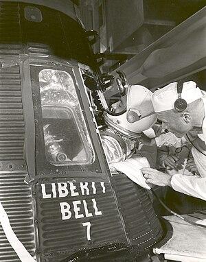 Mercury-Redstone 4 - Astronaut Gus Grissom climbs into Liberty Bell 7