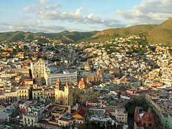 A view of downtown Guanajuato from the El Pípila monument