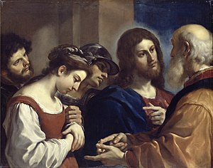 Jesus and the woman taken in adultery - Christ with the Woman Taken in Adultery, by Guercino, 1621 (Dulwich Picture Gallery).