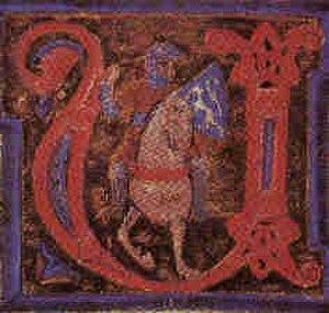 Guilhem de Berguedan - Guillem on horse, miniature from chansonnier A. The portrayal is very similar to an earlier one of Bertran de Born.