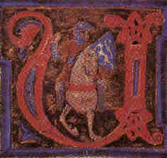 Guilhem de Berguedan - Guillem on horse, miniature from chansonnier A. The portrayal is very similar to an earlier one of Bertran de Born.